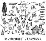 christmas icon set seamless... | Shutterstock .eps vector #767295013