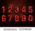 bulb red light font on... | Shutterstock .eps vector #767299693