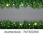 fir branch with neon lights on... | Shutterstock .eps vector #767332303