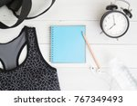 blank notebook with sport and... | Shutterstock . vector #767349493