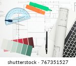 blueprints  laptop and office... | Shutterstock . vector #767351527