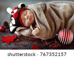 sweet baby boy sleeping at home ... | Shutterstock . vector #767352157