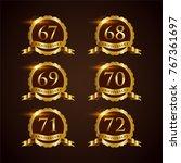 luxury badge anniversary 67 72... | Shutterstock .eps vector #767361697