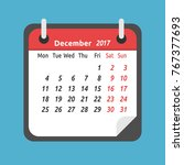 monthly calendar for december... | Shutterstock .eps vector #767377693