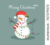 Snowman With Lights  Christmas...