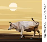 cow low poly design. triangle... | Shutterstock .eps vector #767397637