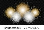 new year fireworks on black... | Shutterstock .eps vector #767406373