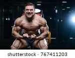brutal sexy strong bodybuilder... | Shutterstock . vector #767411203