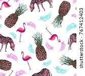 pink pineapple sketch  zebra... | Shutterstock . vector #767412403
