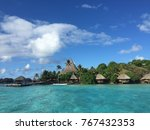 private island. idyllic beach.... | Shutterstock . vector #767432353