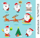 santa claus set. christmas.... | Shutterstock .eps vector #767447713