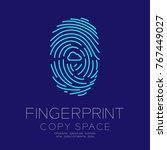 fingerprint scan set with cloud ... | Shutterstock .eps vector #767449027
