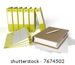notebook with binders against... | Shutterstock . vector #7674502