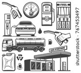 vintage gas station icons... | Shutterstock .eps vector #767453497