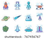 space related icons incolor... | Shutterstock .eps vector #767456767
