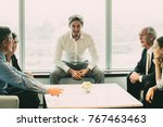 business colleagues discussing... | Shutterstock . vector #767463463