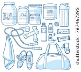 line set of things for fitness... | Shutterstock .eps vector #767467393