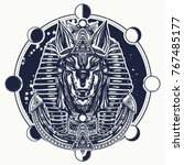 anubis and moon phase tattoo... | Shutterstock .eps vector #767485177