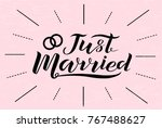 hand drawn just married... | Shutterstock .eps vector #767488627