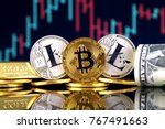 physical version of bitcoin and ... | Shutterstock . vector #767491663