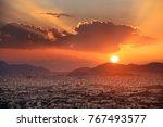 athens skyline sunset viewed... | Shutterstock . vector #767493577