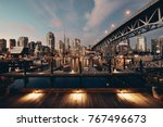 Stock photo vancouver false creek at night with bridge and boat 767496673