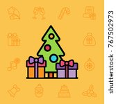 set of christmas icons. vector... | Shutterstock .eps vector #767502973