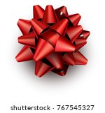 single realistic red bow for... | Shutterstock .eps vector #767545327