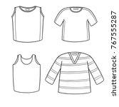 vector set of t shirt and vest | Shutterstock .eps vector #767555287