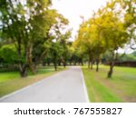 blurred image green park with... | Shutterstock . vector #767555827