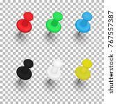 set of push pins with shadows... | Shutterstock .eps vector #767557387