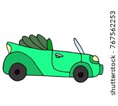 cartoon retro green car... | Shutterstock .eps vector #767562253