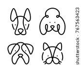 set of pets. vector art line...   Shutterstock .eps vector #767563423