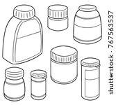vector set of medicine bottle | Shutterstock .eps vector #767563537