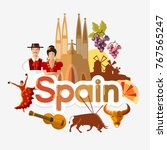 travel to spain. traditions and ... | Shutterstock .eps vector #767565247