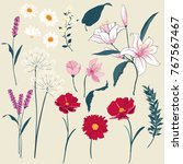 set of  floral greeting card... | Shutterstock .eps vector #767567467