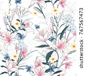 trendy  floral pattern in the... | Shutterstock .eps vector #767567473