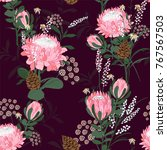 seamless pattern with protea... | Shutterstock .eps vector #767567503