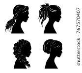 pretty girls silhouettes | Shutterstock .eps vector #767570407
