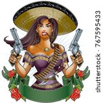 mexican girl with pistols ... | Shutterstock .eps vector #767595433