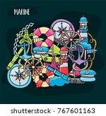 marine doodle elements  hand... | Shutterstock .eps vector #767601163