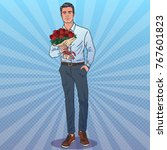attractive man with bouquet.... | Shutterstock .eps vector #767601823