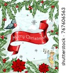 christmas greeting card with... | Shutterstock .eps vector #767606563