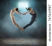 two person  dancers  woman and... | Shutterstock . vector #767614987