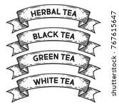green tea  black  white  herbal ... | Shutterstock .eps vector #767615647