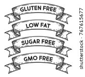 gluten free  low fat  sugar... | Shutterstock .eps vector #767615677
