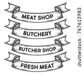 meat  butchery shop  fresh meat ... | Shutterstock .eps vector #767615983