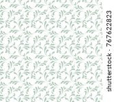 outline floral seamless pattern.... | Shutterstock .eps vector #767622823