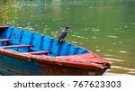 crow on the boat in a  phewa ... | Shutterstock . vector #767623303