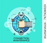 hand holding wrench or spanner... | Shutterstock .eps vector #767636023